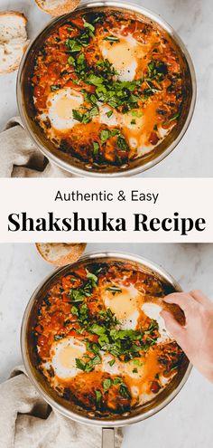 Fresh Tomato Recipes, Veggie Recipes, Vegetarian Recipes, Cooking Recipes, Easy Shakshuka Recipe, Shakshuka Recipes, Vegetarian Breakfast, Breakfast Dishes, Salads