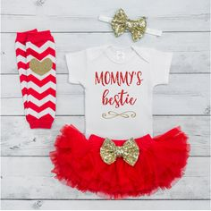 Mommy's Little Girl Outfit Baby Girl Mother's Day Oufit First Mother's Day Outfit Gift From Baby Girl Tutu Mother's Day Set M012S