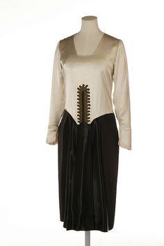 "Paul Poiret, ""La Flute"" Dress. Satin Trimmed with Applied Gilt Braid, French, 1924"