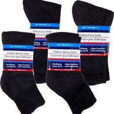 Diabetic Black Quarter-Length and Crew Socks (Set of 2)