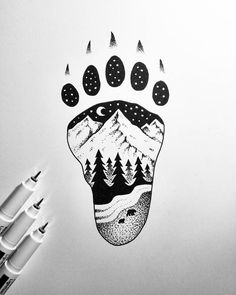stay wild vol.3 #nature #art #photo #night #artwork #drawing #drawings #dotwork #bear #bearcub #mountain #moon #footprint #wild #sketch #ink #black #tattoodesign #tattoo #blackink #creative #paper #graphic #design #creation #illustrationart #dotart #rajz #grafika