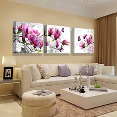 Canvas Print Painting Pictures For Kitchen Modular Picture Posters Room Decor Art Orchid Modern Flowers 3 Panel Wall Art Poster Room Color Schemes, Room Colors, Living Room Designs, Living Room Decor, 3 Panel Wall Art, Kitchen Modular, Bathroom Wall Art, Living Room Pictures, Home Living