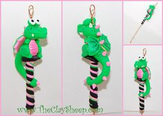 Green & Pink Dragon Spinning Wheel Orifice Hook by TheClaySheep