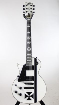 Left Handed! ESP LTD Iron Cross Snow White James Hetfield Electric Guitar w/ Case