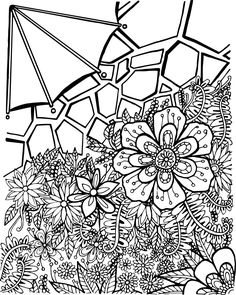 private garden eight coloring page printable by arttocolor on etsy