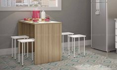 Conjunto para Sala de Jantar com Mesa e 4 Banquetas Amêndoa/Branco - Caaza | Lojas KD
