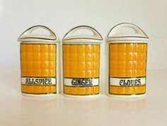 Set of 3 Antique 1930's CARO Czechoslovakia Yellow Spice Jars Allspice Ginger Cloves Kitchen Containers on Etsy, $18.00