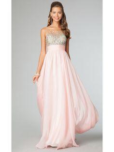 A-line Long Beaded Chiffon Prom Evening Formal Dresses 601086
