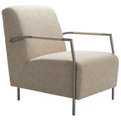 "Elaine Accent Chair in Beige  $235.95 was424.99    Details  Sink into mid-century style with the Elaine Accent Chair, featuring a sleek silhouette, brushed chrome arms, and plush, comfortable cushioning.    Product: Accent chair  Construction Material: Wood, plywood and stainless steel with polyester and cotton upholstery  Color: Beige  Features:  No-sag spring seat and back  Padded arms  Dimensions: 36"" H x 31"" W x 25"" D"