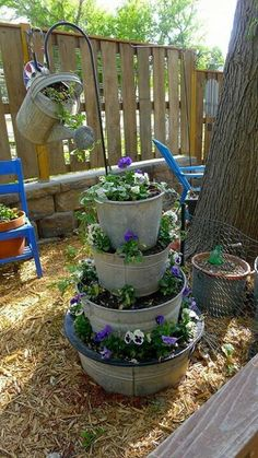 This would be beautiful with trailing plants like petunias or sweet potato vines.