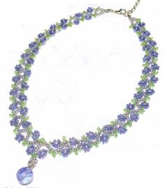 Flower Necklace Schema - site has other patterns. this is an easy floral chain for the right pendant. #seed #bead #tutorial