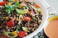 Terri from That's Some Good Cookin' inspires me with her French Green Lentil Salad with Coconut Lime Dressing. Tasty Kitchen, Vegetarian Cooking, Vegetarian Recipes, Lime Salad Recipes, Green Lentil Salad, Italian Side Dishes, Main Dishes, French Green Lentils, Lime Dressing