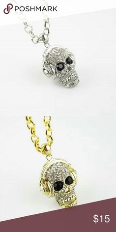 Skull Headphone necklace New skull headphone necklace 18 inches. Gold or silver plated. See boutique for more fashions! Follow us to see New items posted daily!  #love #beauty #makeup #fashion #swimsuit #streetwear #style #trend #boho #matte #201 #designer #crop #mid #wedding #marriage #women #plussize #plus #petite #small #medium #large #unicorn #brush #gold #silver #human #hair #dress #shirt #short #top #sunglasses #watches #jewelry #choker #multilayer #bohemian #rings #leggings #necklace…