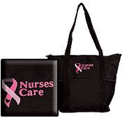 Nurses Care Pink Ribbon Tote Bag  #nurse #tote #breastcancer
