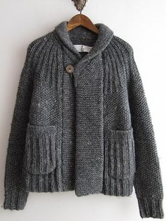 gasa Incredibly elegant design with the simplest of stitches. Only Cardigan, How To Purl Knit, Knit Jacket, Jacket Pattern, Knit Fashion, Pulls, Mantel, Hand Knitting, Knitwear