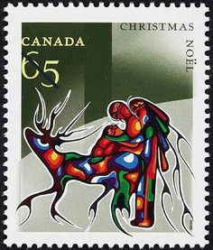 Postage stamp issued 2002 - Winter Travel by Aboriginal artist Cecil Youngfox