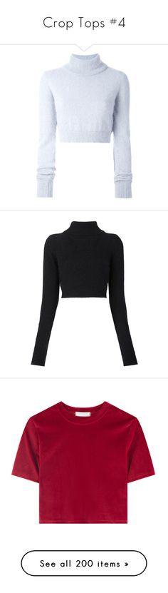 """""""Crop Tops #4"""" by marissa-91 ❤ liked on Polyvore featuring tops, sweaters, balmain, crop top, blue, cropped sweater, balmain sweater, long sleeve sweater, blue jumper and roll neck sweater"""