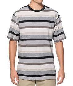 Get a clean street style to look your best with a black, charcoal, grey, and tan alternating mini and thick striped design.
