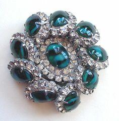 Vintage Weiss Ice Rhinestone Emerald Striped Cabochon Layered Brocch Gorgeous | eBay