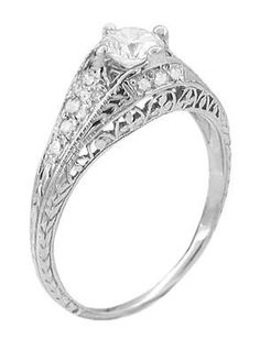 Art Deco Ansonia Filigree Diamond Engagement Ring in Platinum