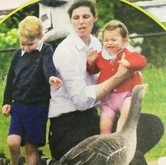 Charlotte didn't look too thrilled with the geese on Kensington Palace grounds.
