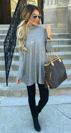 I like the sweater dress with black leggings and booties