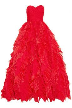 Oscar de la Renta Silk-chiffon, lace...   $13,990.00