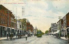 Illinois IL Waukegan North Genesee Street 1913 Postcard w Trolley | eBay