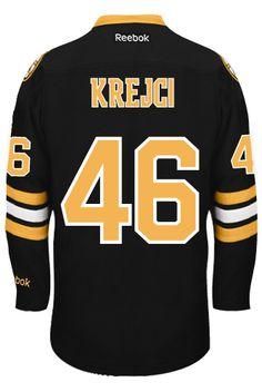 Boston Bruins David KREJCI #46 *A* Official Third Reebok Premier Replica NHL Hockey Jersey (HAND SEWN CUSTOMIZATION)