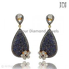 New Designer Blue Sapphire & Rose Cut Diamond Carved shape Dangle Earrings #handmade #dazzling #diamond #sapphire #Womens #earrings #dangle #carved #flower