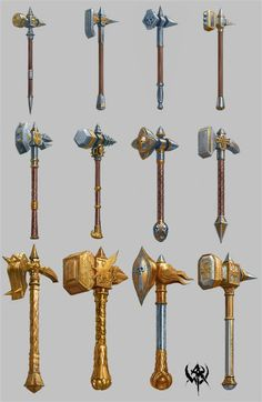 A collection of concept weapons: Warhammer Online Anime Weapons, Fantasy Weapons, Fantasy Rpg, Medieval Fantasy, Fantasy Dwarf, Weapon Concept Art, Armor Concept, Warrior Priest, Warhammer Online