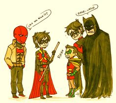 Batfamily. Red Hood, Red Robin, Robin, Nightwing, and Batman.
