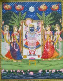 Srinathji Darshan painting by Rajendra Khanna | ArtZolo.com