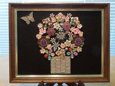 Jewelry Art, Floral Art, Basket of Flowers with Butterfly, Hand Made by Me  Ask a Question $95.00 USD Only 1 available