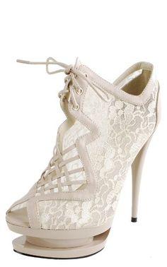 298126941 Sydney Lace Triple Platform Ankle Boots NUDE Desire Clothing