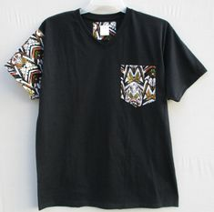 Tribal Print Shirt Adom V neck Pocket T Shirt by Shipella on Etsy