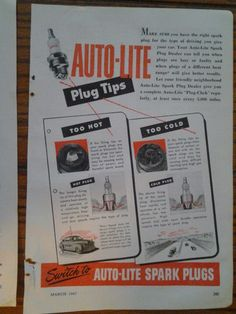 2 Vintage 1949 & 1947 Original Spark Plugs Print Ads Auto-Lite & Champion