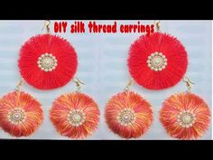 Earrings Handmade DIY Silk Thread Earring New Designs Diy Tassel Earrings, Silk Thread Earrings, Earrings Handmade, Crochet Earrings, Beaded Earrings, Hand Embroidery Videos, Michael Kors Rose Gold, Textiles, Band