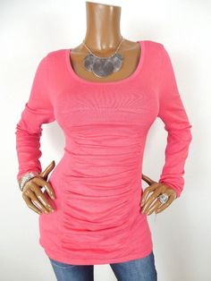 c4db0286cb9 INC Womens Top XL NWT SEXY Shirt Ruched Knit Stretch Long Sleeves Rose  Paradise  INCInternationalConcepts