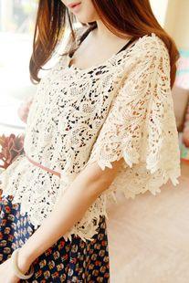 【夏季清仓】稳家。超精美的钩花罩衫(正版)~2色(不包邮)-淘宝网