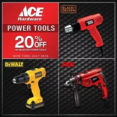 Check out ACE Hardware Power Tools SALE!  Get 20% OFF on selected power tools of brands like Black+Decker, DeWALT anD SKIL.  Promo runs now until the end of this month, July 31, 2016!  http://mypromo.com.ph/