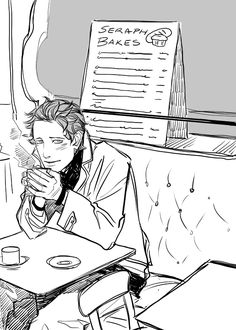 cassandrajp:  Young Circle Art! Luke Luke waiting for someone at the cafe Seraph Bakes in Idris? @TMIScotland  came up with the cafe name and I thought it was brilliant. Anyway, random doodle. I can't bring myself to draw anything more serious today, kinda fuzzy-headed.
