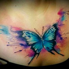 Beautiful watercolor butterfly tattoo