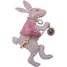 Outrageous Vintage Kirks Folly Couture Large White Rabbit Pave Rhinestone Pin Huge Opulent Alice in Wonderland