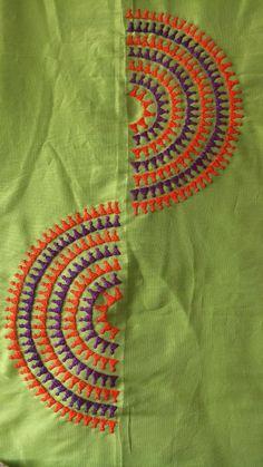 Zardozi Embroidery, Embroidery On Kurtis, Kurti Embroidery Design, Embroidery Neck Designs, Hand Embroidery Videos, Hand Embroidery Flowers, Hand Work Embroidery, Embroidery On Clothes, Simple Embroidery