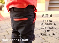 Tutorial: How to add front slanted and back welt pockets to any trousers pattern (Näh-Connection) Sewing Kids Clothes, Sewing For Kids, Sewing Basics, Sewing Hacks, Sewing Tips, Patterned Jeans, Pocket Pattern, Lining Fabric, Welt Pocket