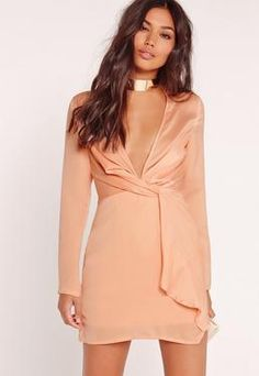 ab1cb056fb Silky Plunge Wrap Shift Dress Nude Silky Dress