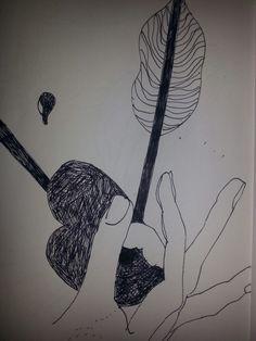 *gebroken hart*  pen  op papier  2014 Greetje Kuipers