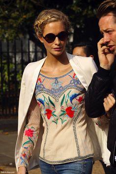 blouse, white blazer + black shades- Poppy Delevingne