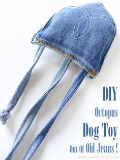 Make a cute DIY octopus dog toy with jeans pockets!